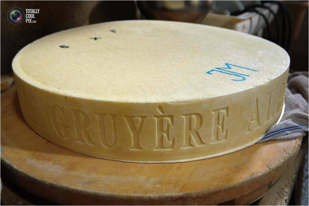 Wheel cheeses are marked