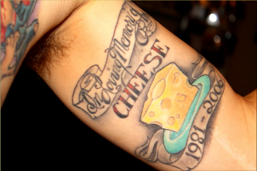 Tattoo in loving memory of cheese